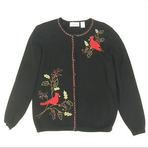Embroidered Cardinal Bird Christmas Sweater